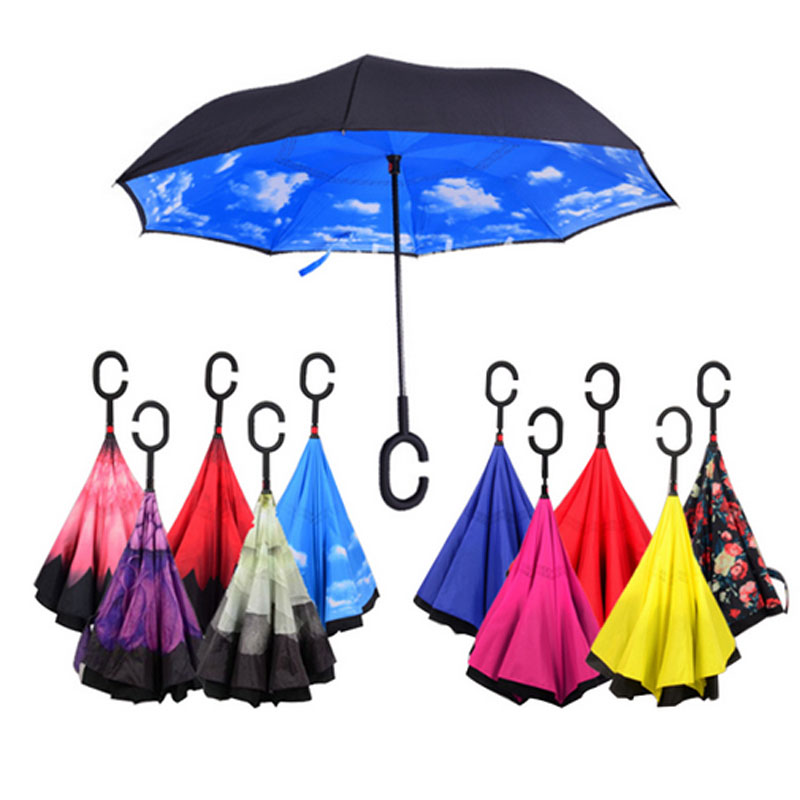 Windproof Reverse Folding Double Layer Inverted Umbrellas Self Stand With C Handle For Women Umbrella