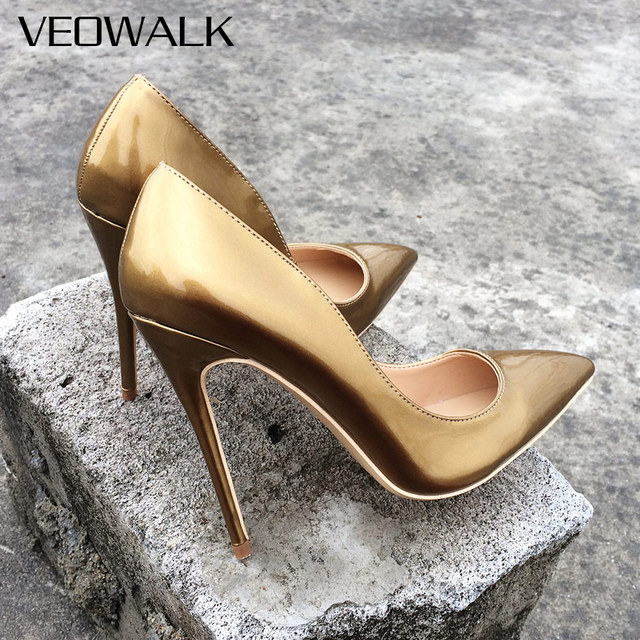590572234c US $33.07 48% OFF|Veowalk Brand Patent Lether Women Sexy Pointed Toes High  Heels Ladies Evening Party Pumps Wedding Bride Shoes Customized Accept-in  ...