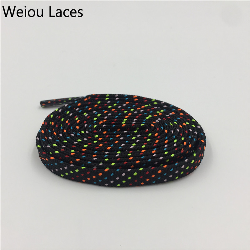Weiou Outdoor Hiking Walking Boot Laces Athletic Polyester Black Cool Replacement Unique Flat Colored Shoelaces Casual Sneakers