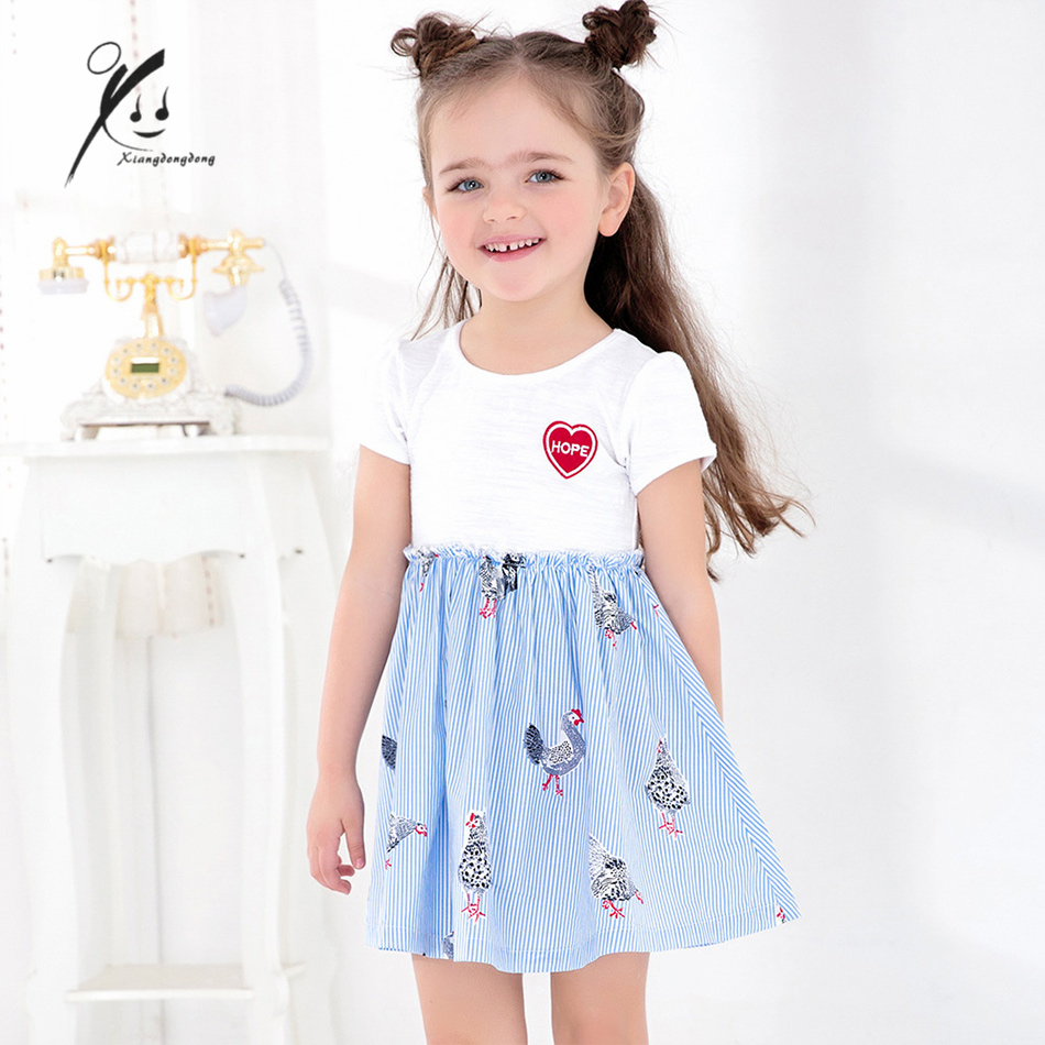 girls dress summer 2017 white blue stripe with chicken pattern kid clothing vetement enfant fille XDD-E2036 универсальная сумка udg ultimate courierbag deluxe black