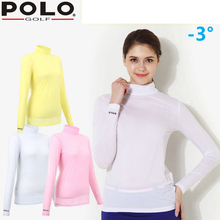 Brand Polo Women's Sexy Golf Clothes Golf Anti-UV Basic Shirt Long Sleeve Shirt, Ladies Golf Clothes Clothing Polo Shirt