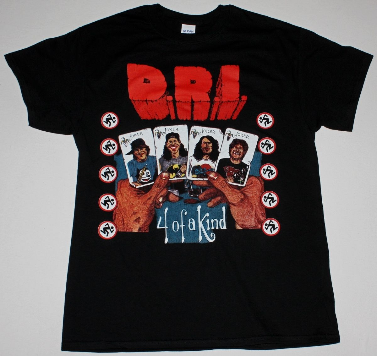 D.R.I. FOUR OF A KIND BLACK T SHIRT DIRTY ROTTEN IMBECILES CROSSOVER THRASH DRI