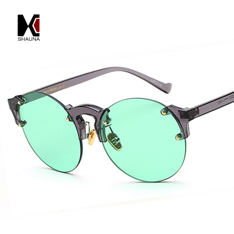 fb2af31085a SHAUNA Fashion Candy Colors Women Round Rimess Sunglasses Trend Men Green  Tinted Lens Glasses-in Sunglasses from Apparel Accessories on  Aliexpress.com ...