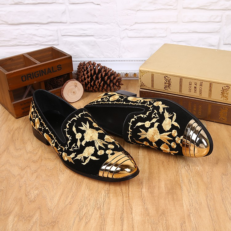 Luxury Formal genuine leather gold round toe embroidery slip on velvet loafers slipper classic italian dress formal men shoes