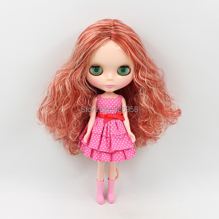 1/6 blyth doll Nude Doll 230BL12500519 GOLDEN MIX RED HAIR central cut long wavy hair adiors long middle parting shaggy wavy color mix synthetic party wig