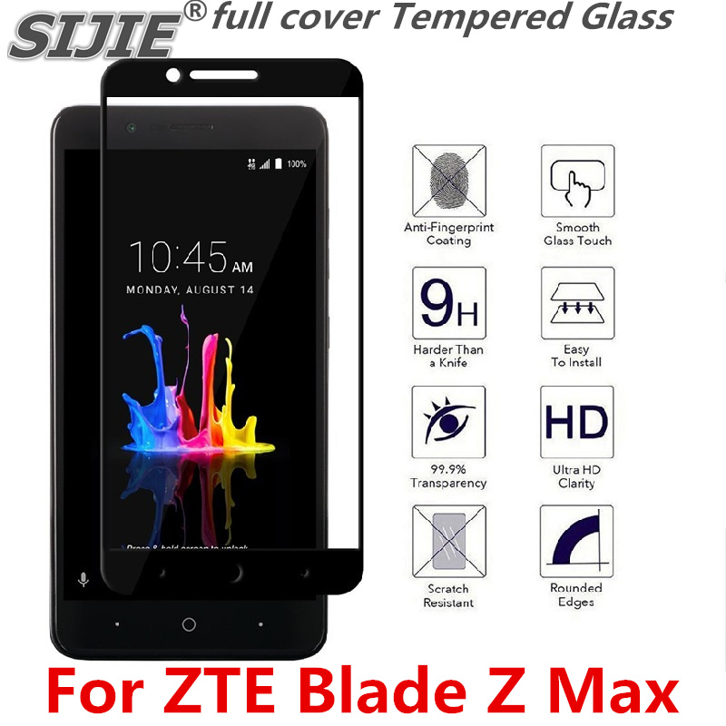 full cover Tempered Glass For ZTE Blade Z Max Z982 MetroPCS ZMax Screen  protective smartphone on toughened frame all edges