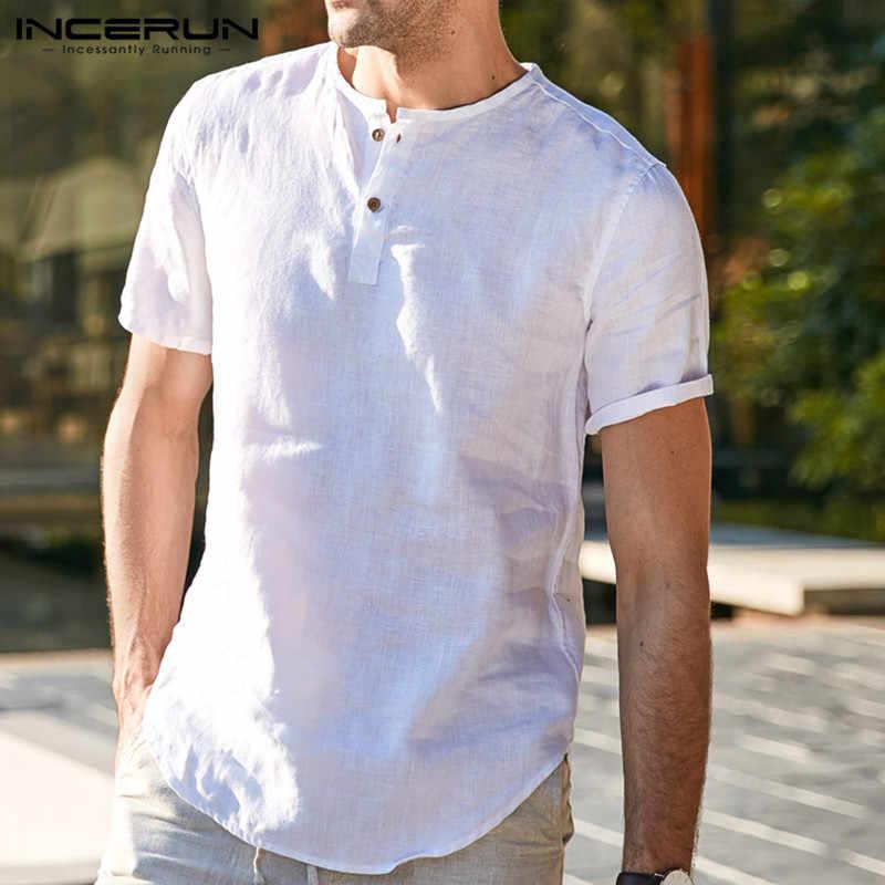 INCERUN プルオーバーラウンドネック無地夏薄肉ルーズ Tシャツ男性半袖 2019 カジュアルプルオーバー Fashiont シャツ