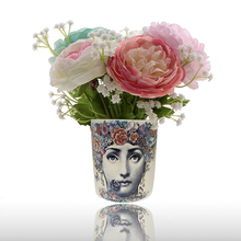 Nordic Fashion Fornasetti Vase Beauty Face Cylindrical Jardiniere for Flowers Floral Art Accessories Lovely Desk Decoration