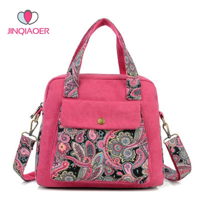 2017 Fashion New Retro Women's Handbag Canvas Flower Bag Cute Women Messenger Bags Shoulder Crossbody Bag Bolsa Feminina YBB086