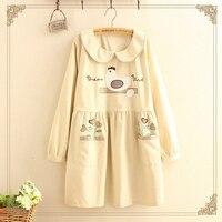 Japanese Cartoon Bird Pattern Embroidery Peter Pan Collar Dress Women Autumn Patchwork Long Sleeve Sweet Basic