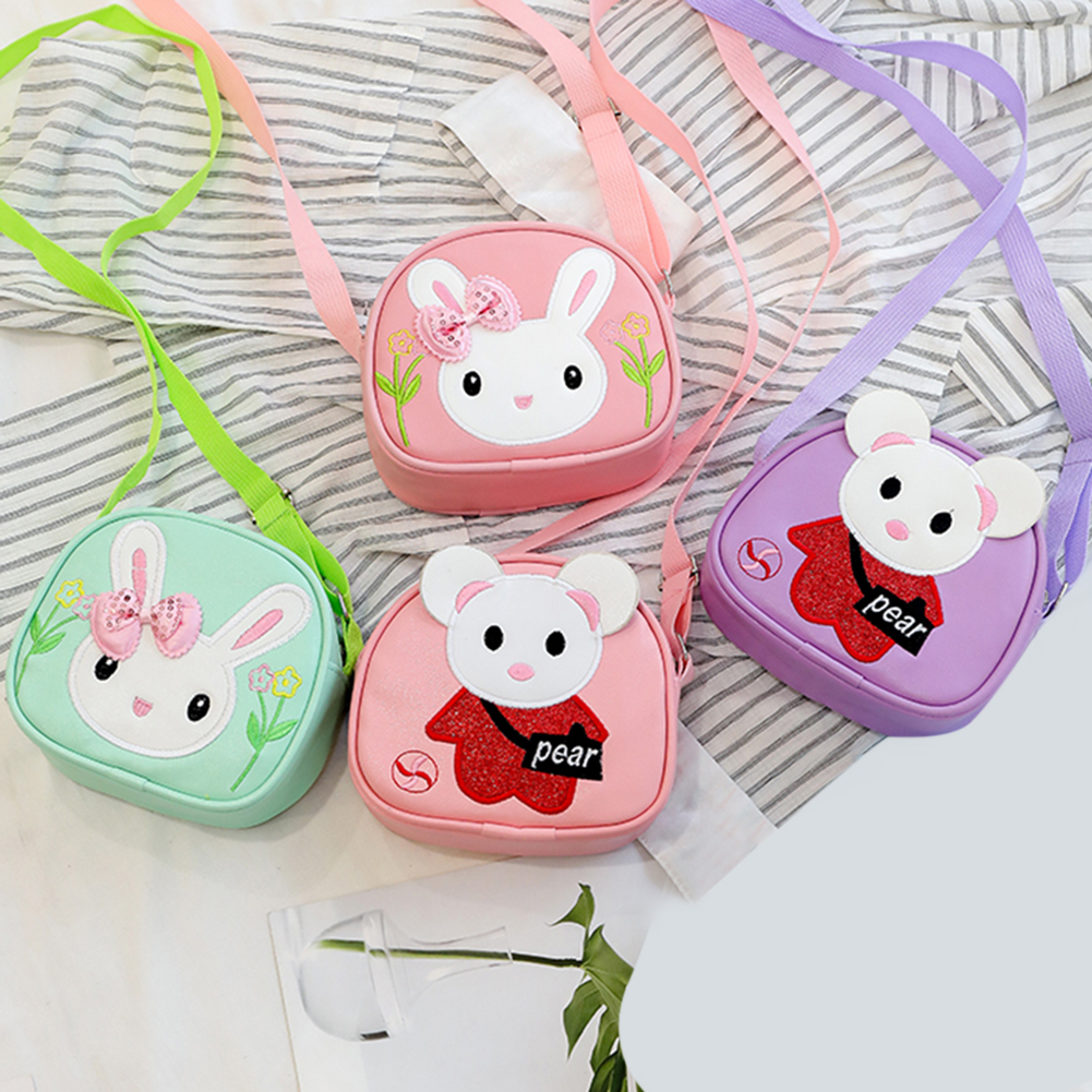 Children Casual Small Cute 3D Cartoon Pattern Shoulder Handbags Kids Girls PU Leather Mini Simple Zipper Crossbody Messenger Bag