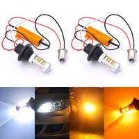 AILEO 2PCS ba15s BAU15S 1156 p21w s25 LED CANBUS T20 W21W WY21W 7440 light Daytime Running Light+Turn Signal Dual Mode DRL