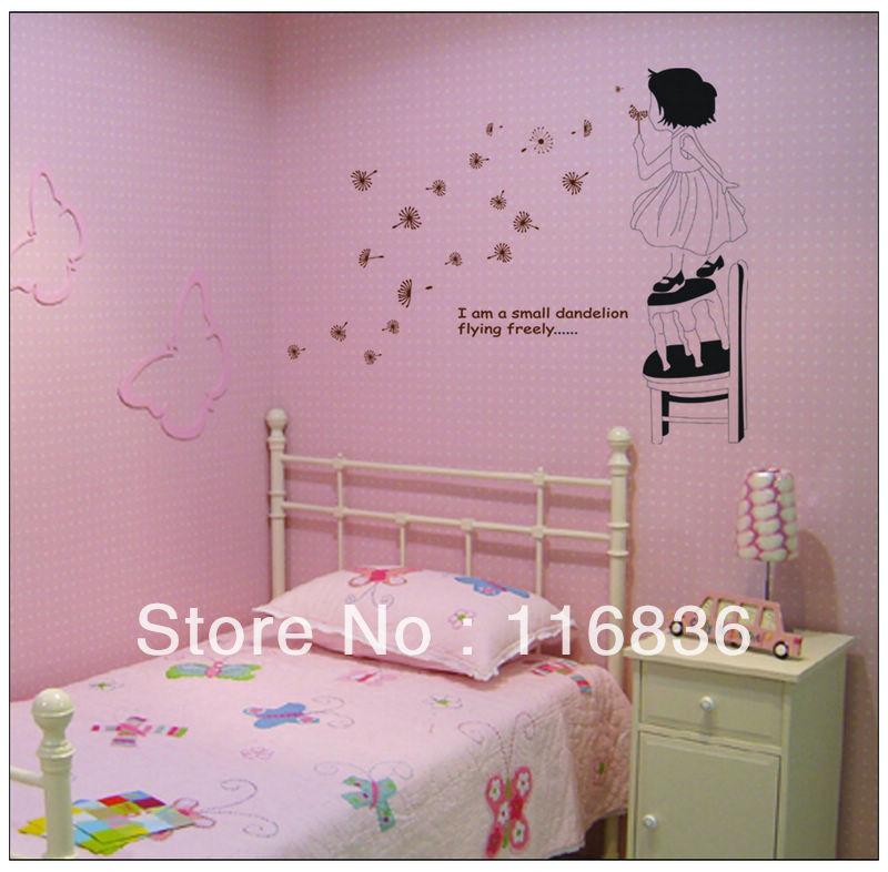 Free Shipping New Decorative Dandelion Girl Wall Decal Stickers - Wall decals girls room