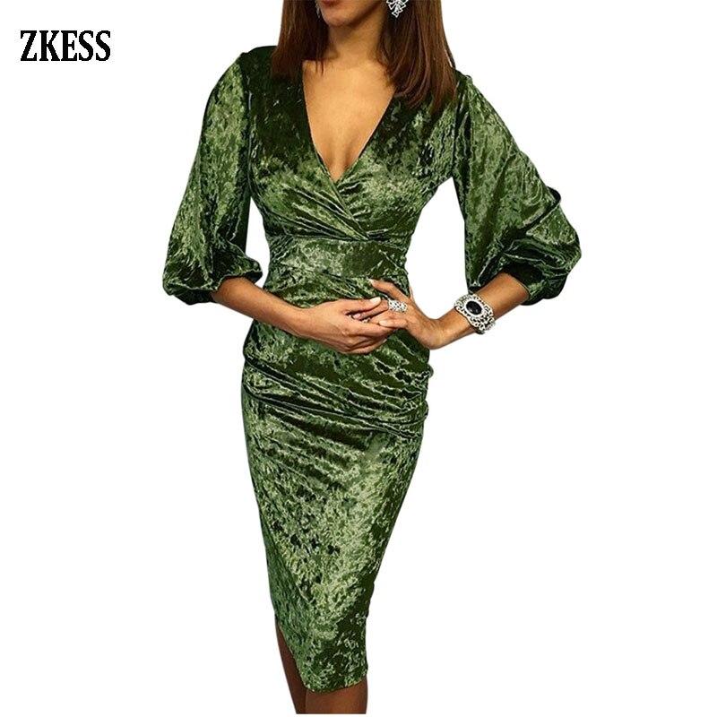 ZKESS Women Glistening V Neck Velvet Sheath Dress Sexy 3/4 Long Bell Sleeve High Waist Bodycon Party Club Midi Dress LC611048