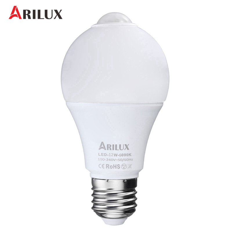 ARILUX E27 LED Light Bulb 2835SMD PIR Motion Sensor/Light Control Smart LED Lamp Auto On/Off Lamp 12W AC100-240V smart bulb e27 7w led bulb energy saving lamp color changeable smart bulb led lighting for iphone android home bedroom lighitng