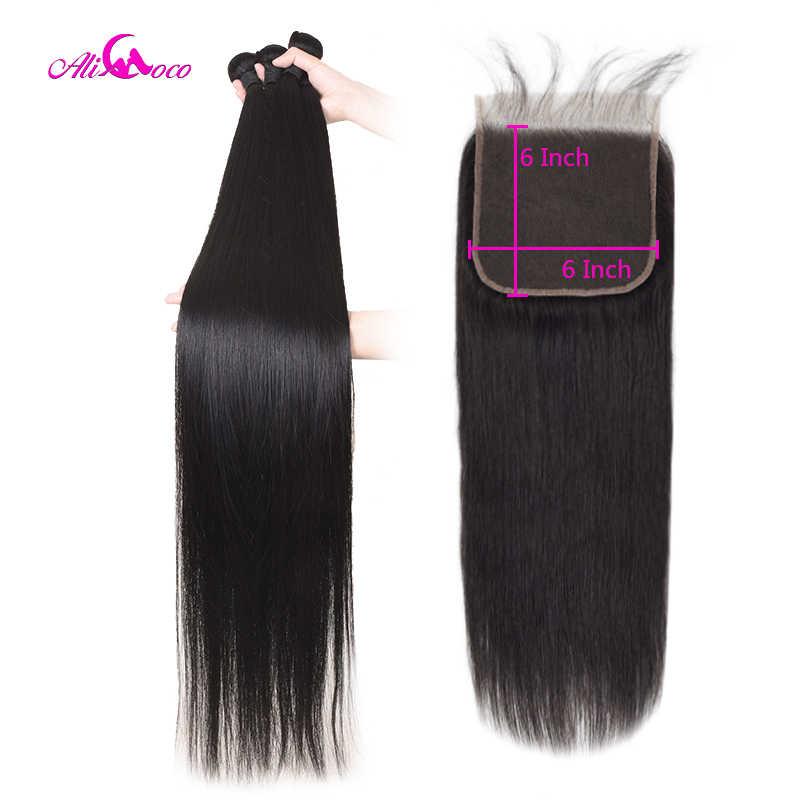Ali coco brazylijskie pasma prostych włosów z zamknięciem 6x6 Remy ludzkie splot oferty z zamknięciem jedwabiste 30 32 34 36 38 40 Cal włosy