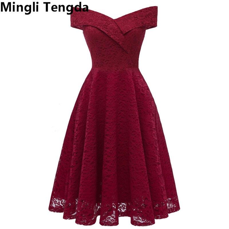 2018 Vestidos Rojos De Dama De Honor Vestidos Cortos Para Fiesta De Boda Vestido Formal Mujeres Vestidos De Dama De Honor Cuello Barco Mingli Tengda