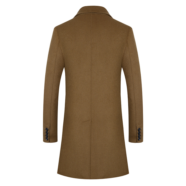 100% Woolen coat men's autumn-winter business Casual Double-breasted long Trench coat men's Double-sided High quality wool coat