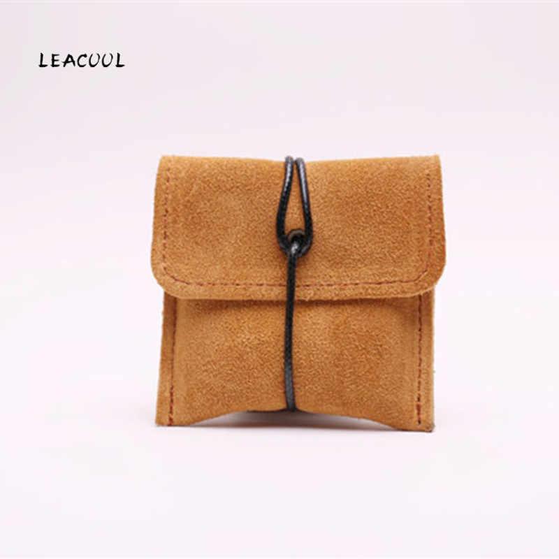 Leacool split couro barato moeda bolsa titular do cartão bolsa bolsa bolsa de embalagem de jóias de calabash