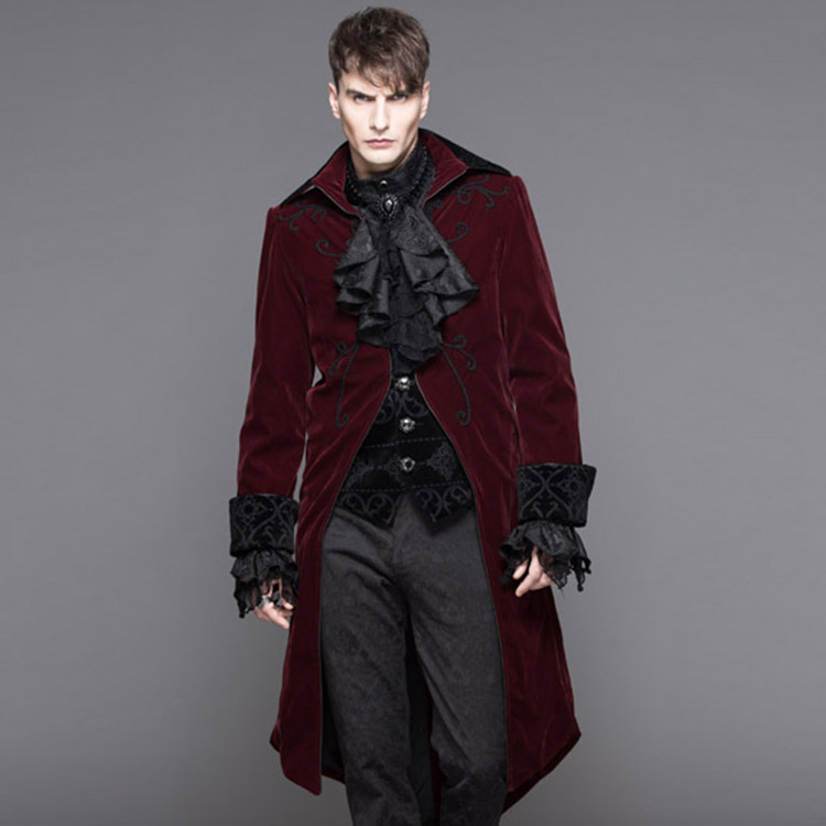 2017, winter and New Gothic GOTHIC stage performance, long punk wave fashion, thickening hair coat, male