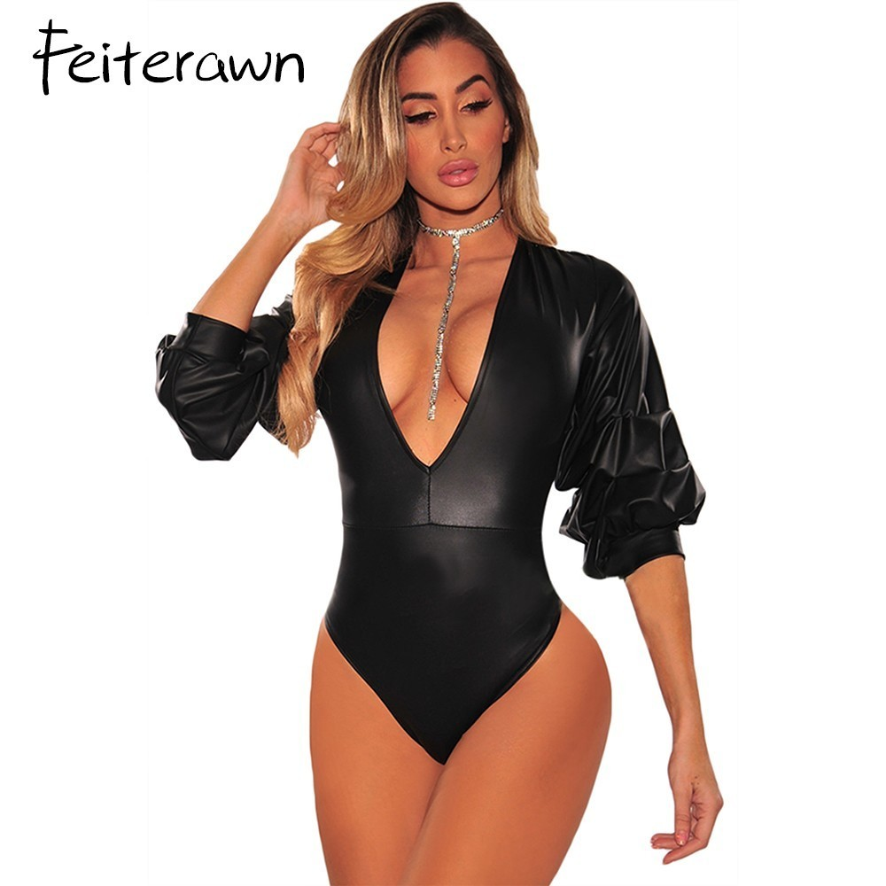 Feiterawn Sexy Women Short Jumpsuits Black Leatherette Ruched Ruffle Deep V Neck 3/4 Sleeve Bodysuit Combinaison Femme DL32177