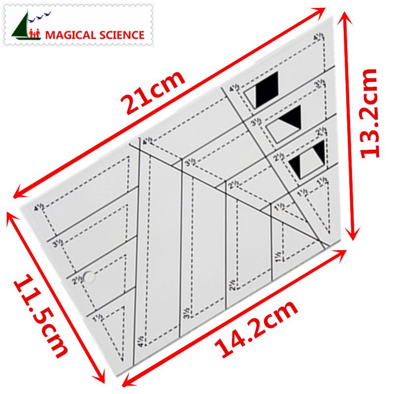 Patchwork Ruler Transparent Acrylic Trapezoid Triangle Rhombus Diamond Shape 1/4 Inch Seam Allowance Cloth Art DIY Sewing Tools