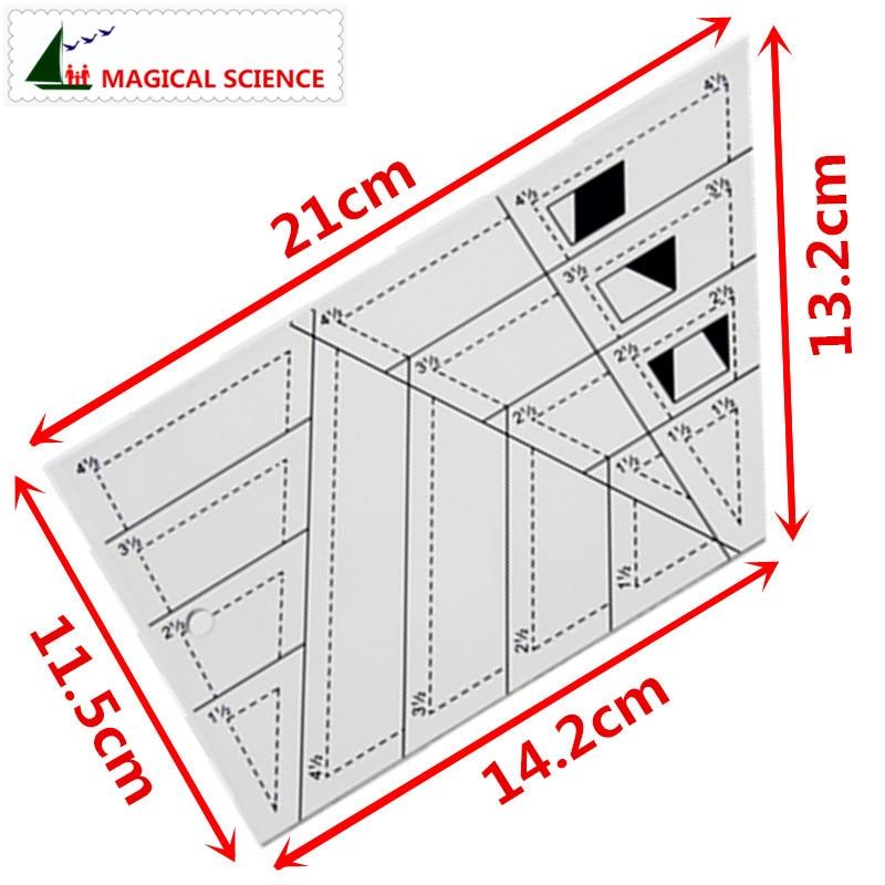 Patchwork Ruler Transparent Acrylic Trapezoid Triangle Rhombus Diamond Shape 1/4 Inch Seam Allowance Cloth Art DIY Sewing Tools