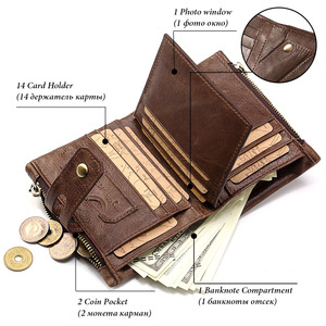 Image 2 - HUMERPAUL Genuine Leather Men Wallet Coin Purse Small Mini rfid Card Holder PORTFOLIO Portomonee Male Pocket Hot Sale