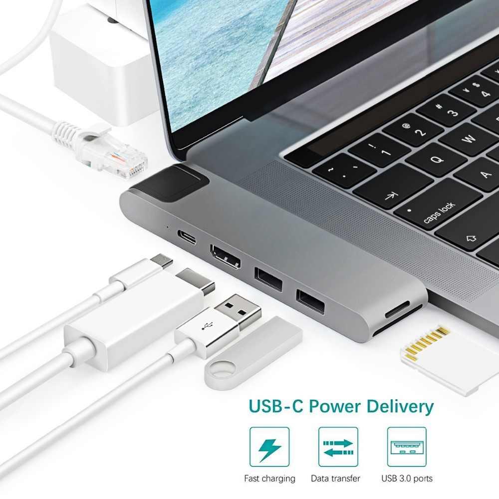 Высокое качество 7 в 1 многопортовый концентратор двойной USB-C 4 к видео HD выход порт SD/TF кард-ридер type-C порт usb-хаб для MacBook Pro