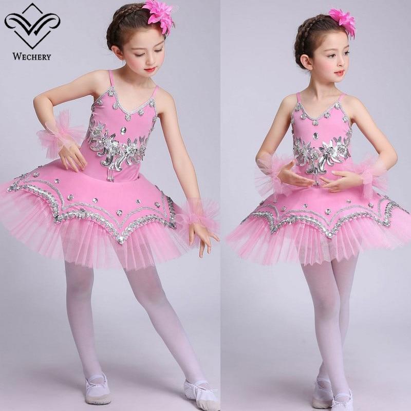 Wechery Lace Dance Wear Performance Dancing Costume Gymnastics Leotards for Girls Sequins Beading Floral Luxury Tutu Dress