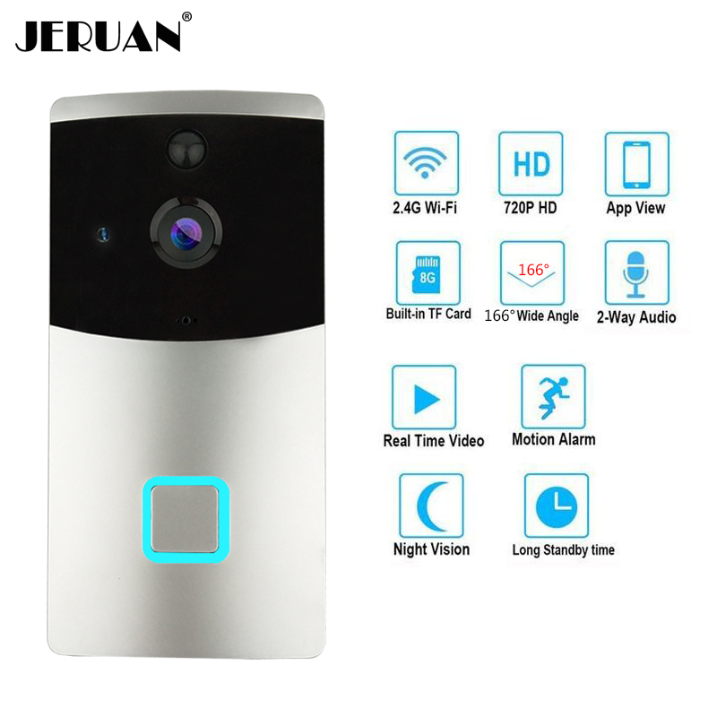 JERUAN 720P HD Wireless video Door phone Smart WiFi Camera Video Doorbell Security Camera with PIR Motion Detection Night Vision kinco wifi remote control night vision video doorbell hd waterproof dtmf motion detection alarm smart home for smartphone