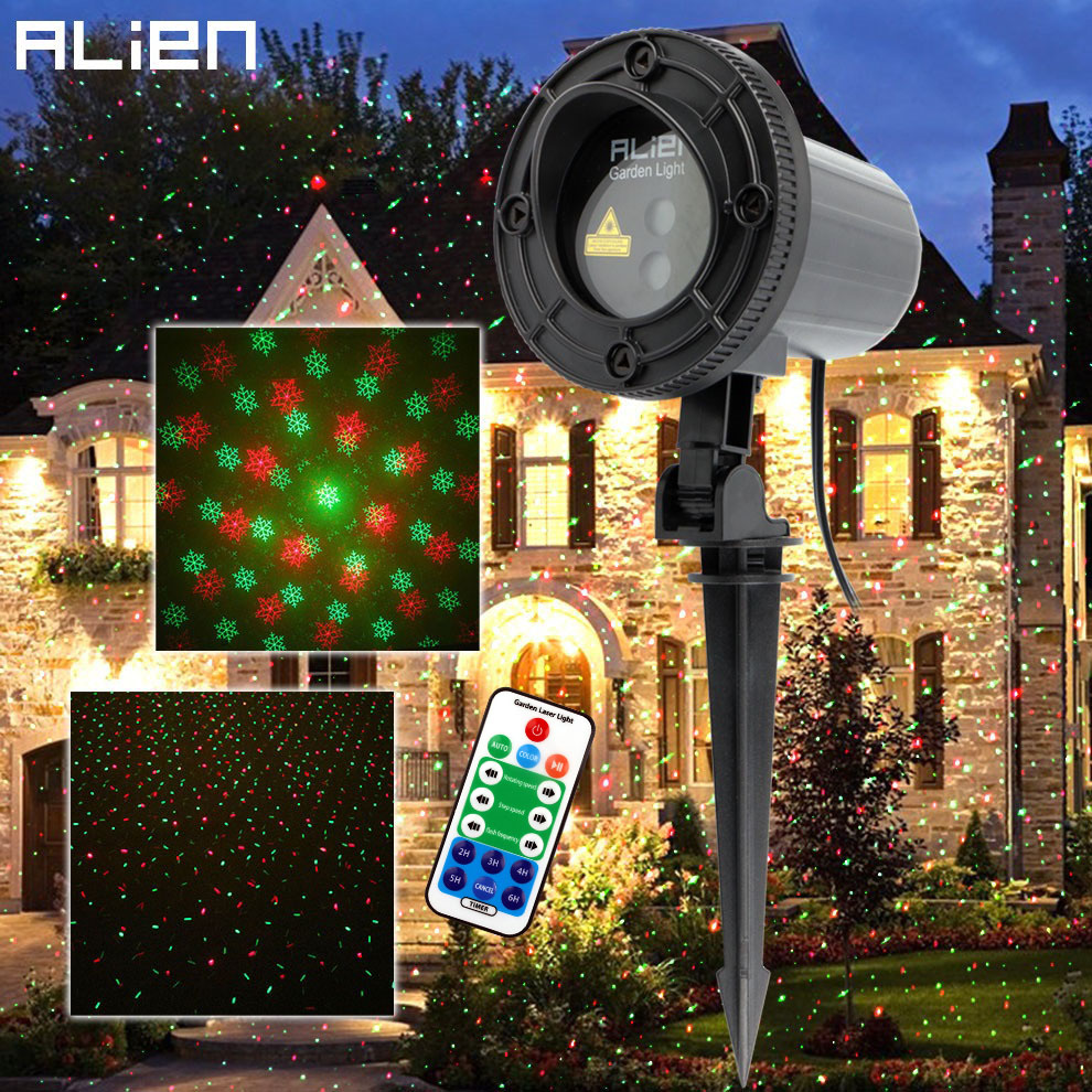 ALIEN Remote Red Green Star Snowflake Outdoor Laser Light