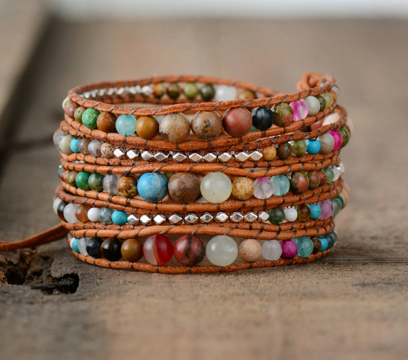 1e43226f2dec1 Leather Wrap Bracelets Dropshipping Women Graduated Natural Stones Silver Color  Beads Multilayers Bracelets Wholesale-in Wrap Bracelets from Jewelry ...