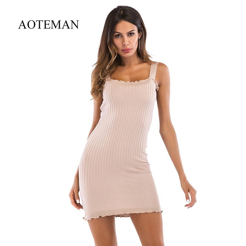 AOTEMAN винтажное летнее платье женская новая обтягивающая, с открытыми плечами бодикон облегающий трикотажное платье Элегантное однотонное ...