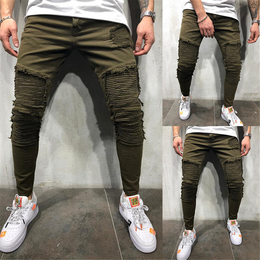 Long Jeans  European Yard  Men's Fashion Slim Holes Pleated Pocket Jeans Pants  Long Pants Casual Pants 30 Dropshipping