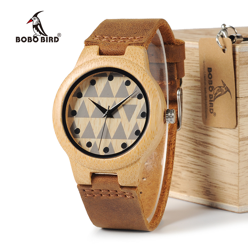 BOBO BIRD WA33A34 Lovers Design Brand Wooden Bamboo Watches With Real Leather Quartz Watch For Women Men in Gift Box OEM bobo bird l b08 bamboo wooden watches for men women casual wood dial face 2035 quartz watch silicone strap extra band as gift