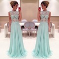 abendkleider lang 2016 Sexy A-Line Evening Dresses Pretty Light Blue Long Applique Prom Dress custom made vestido de festa longo
