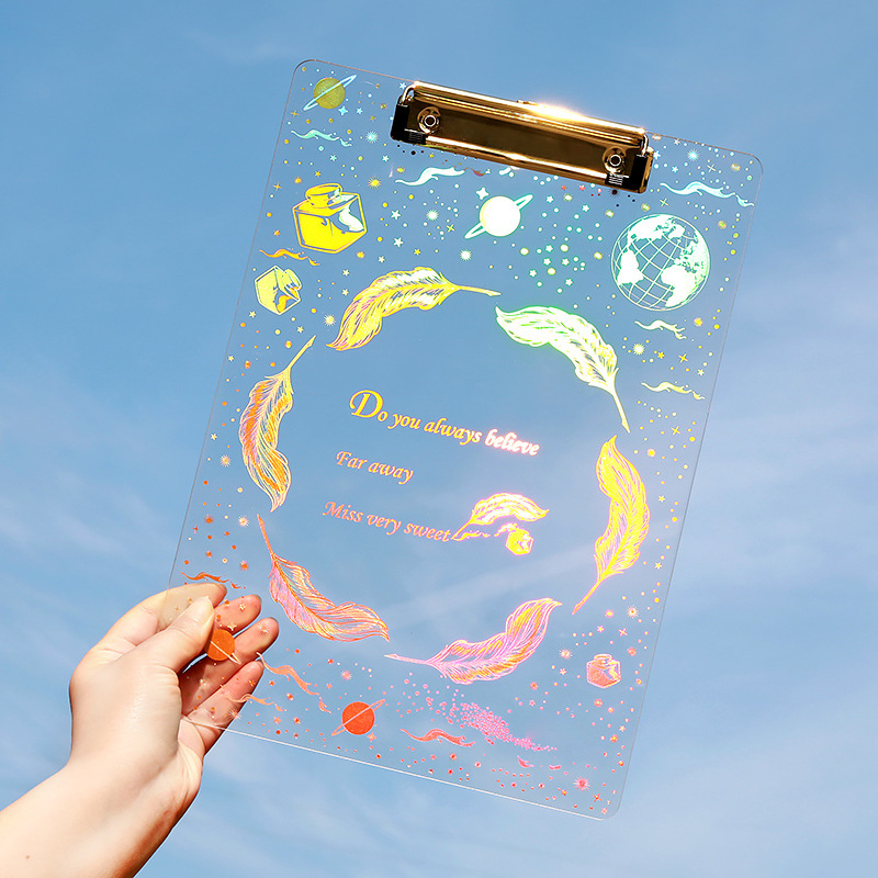 Coloffice Fantasy Starry Acrylic Bronzing Plate Clip Transparent A4 Student Hard Plastic Writing Clipboard Stationery Folder 1PC