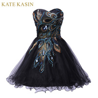 2014 New Free Shipping Sexy Tulle Ball Gown Distinctive Embroidery Peacock Pattern Black Mini Party Cocktail