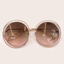 نمط جديد النظارات الشمسية المستديرة النساء الفاخرة العلامة التجارية مصمم إطار معدني كبير نظارات شمسية ظلال الإناث 2019 نظارات الموضة في الهواء الطلق
