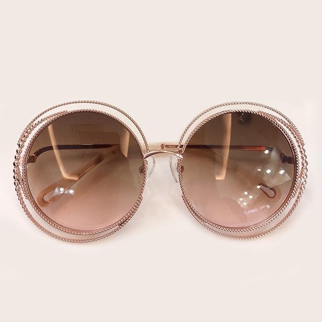 Nieuwe Stijl Ronde Zonnebril Vrouwen Luxe Merk Designer Grote Metalen Frame Zonnebril Vrouwelijke Shades 2019 Fashion Outdoor Eyewear