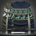 Inglaterra Britânico Veado Animal Print Homens Pulôver Masculino O Pescoço Longo Da Luva Dos Homens Casuais Blusas De Lã Pullovers