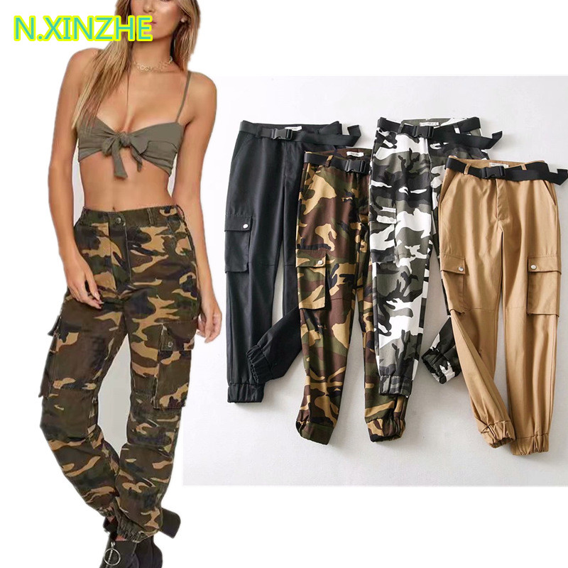 2018 women clothing high waist pockets camouflage print relaxed cargo   pants   Female casual loose straight cotton   capris   trousers