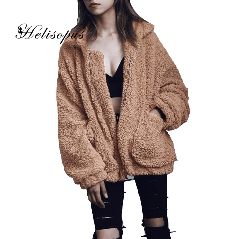 Helisopus New Winter Faux Fur Women Coat Warm Fluffy Cardigan Bomber Jackets Long Sleeve Zipper Casual Loose Outwears Plus Size
