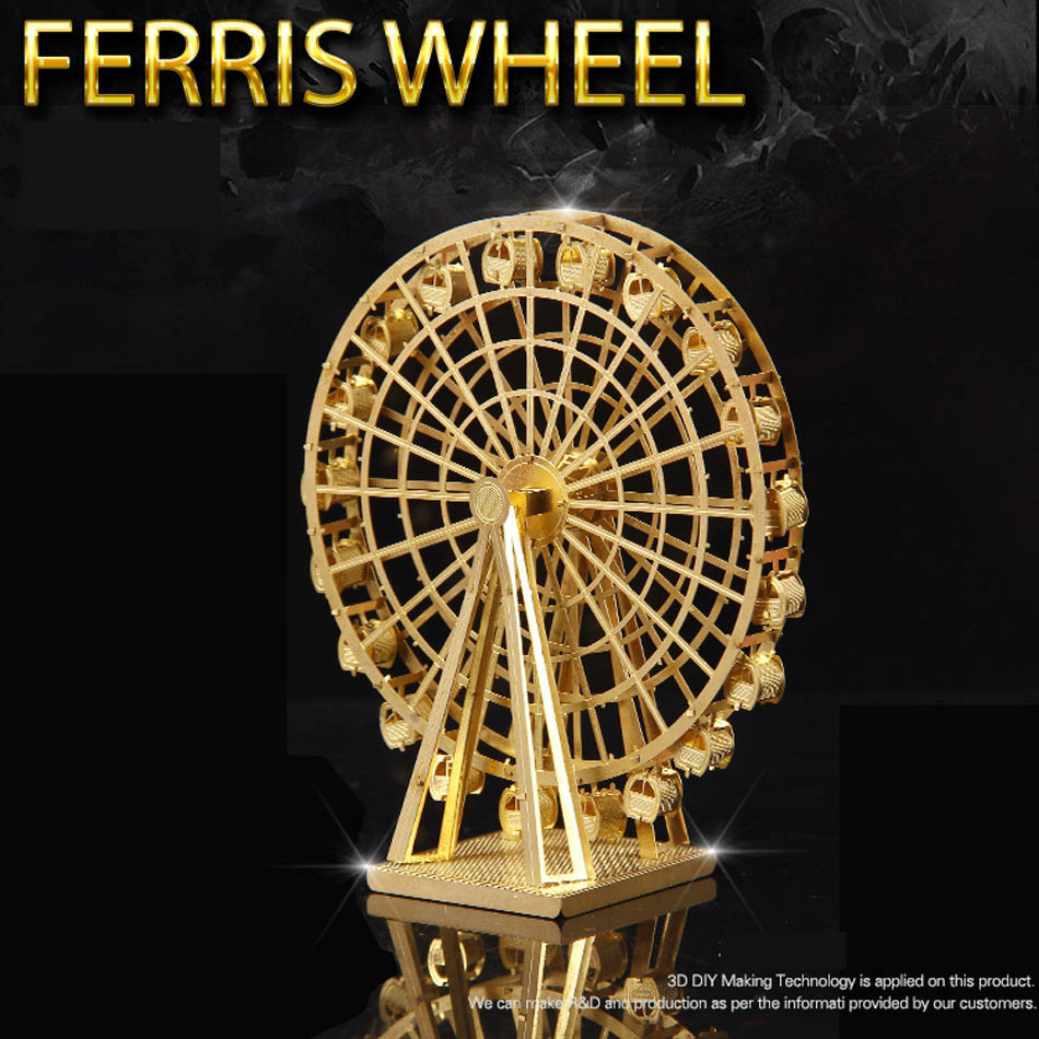 Hot  model diy metal building assembly model 3-dimensional jigsaw puzzle brass Ferris wheel 3d metal puzzle gold kinkaku ji puzzle japanese architecture 3d diy assembly model stainless steel metal brass 2 3 sheets sydney opera house