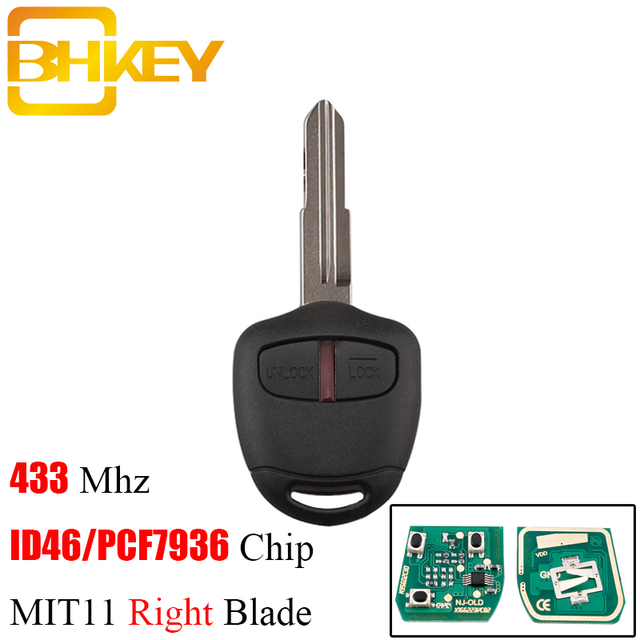 BHKEY llave remota de 2/3 botones para Mitsubishi, Chip transpondedor ID46 de 433Mhz para Mitsubishi L200, Shogun, Pajero, Tritón, Fob MIT11