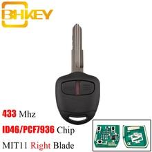 Bhkey chave remota de botões 2/3, para mitsubishi 433mhz, transponder chip id46 para mitsubishi l200 shogun pajero triton chave fob mit11