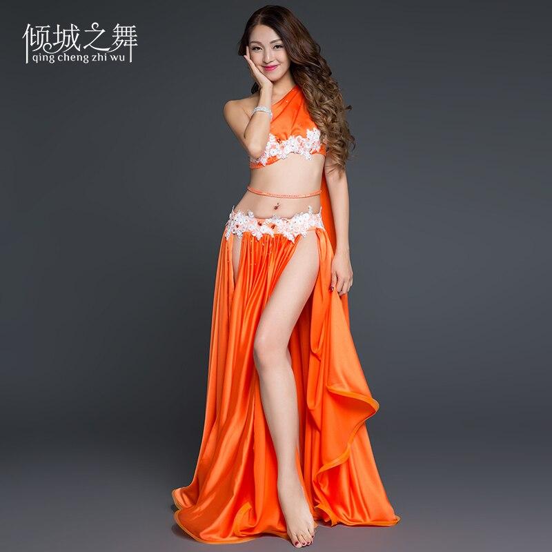 Violet,Fit 45-70 KG Xinvivion 4 Pi/èces Femmes Dame Danse du Ventre Professionnel Costume Set Danse Indienne Performance Outfit Suit