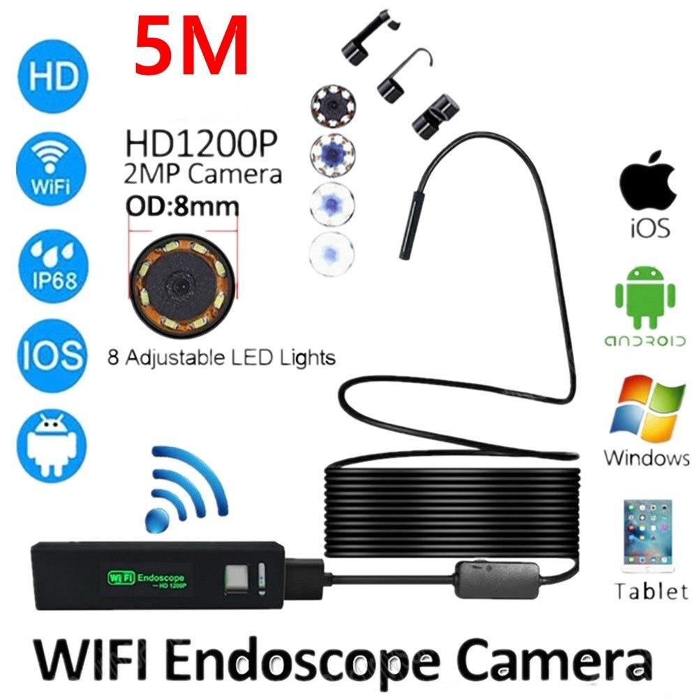 2/5/10M WIFI Endoscope Camera HD 1200P 8mm 8 LED Mini Waterproof Hard Cable Inspection Camera Borescope For Iphone PC IOS