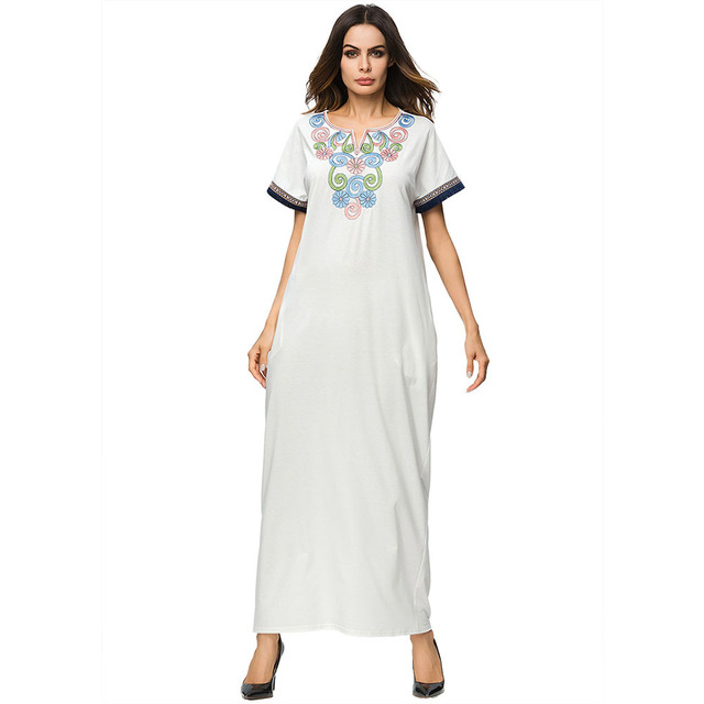 Baju Muslim Lengan Pendek Wanita Abaya Kaftan Turki Musim Panas Gaun Arab Dubai Islamic Pakaian Gaya Baru Wanita Plus Ukuran Robe Pakaian Islamic Aliexpress
